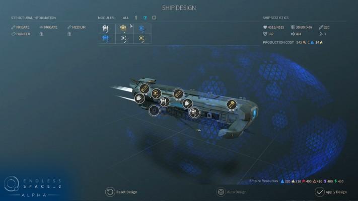 La conception de vaisseau se fait à l'aide d'un drag and drop